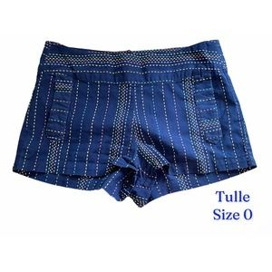 Tulle Navy Shorts Multicolor Thread Design, Size 0
